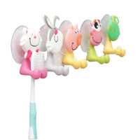 Free Shipping Bathroom Cute Cartoon Sucker Toothbrush Holder With Suction hooks
