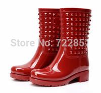 Rain boots rainboots female water shoes female rivet fashion knee-high rainboots rubber shoes