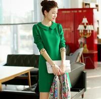 2014 autumn women  fashion slim gentlewomen peter pan collar long-sleeve knitted one-piece dress