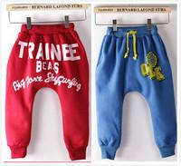 Children's Fleece pants boys girls letter harem sport pant trousers Warm