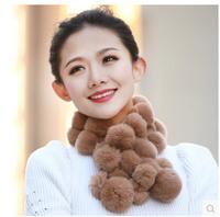 2014 New Style Genuine Rex Rabbit Fur Scarf Fur Wraps Fashion Female Rabbit Fur Muffler Fur Balls Warmer for Winter
