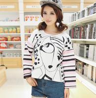 2014 women's basic shirt fashion casual print space cotton women's long-sleeve sweatshirt
