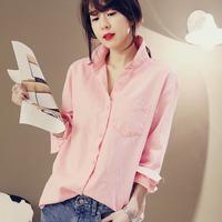 Fashion small fresh 100% cotton shirt women's long-sleeve slim all-match shirt
