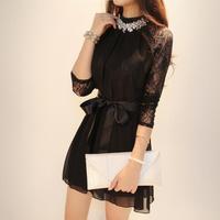 2014 autumn women elegant sweet gentlewomen lace three quarter sleeve chiffon one-piece dress