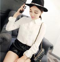 Fashion all-match OL autumn outfit shirt female slim elegant white long-sleeve shirt