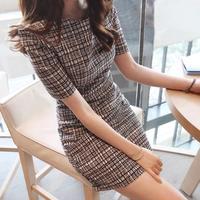 2014 summer plaid elegant gentlewomen slim hip o-neck short-sleeve dress