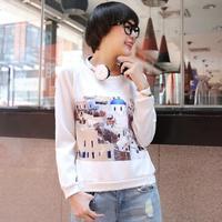 2014 women's fashion preppy style casual print women's long-sleeve T-shirt sweatshirt