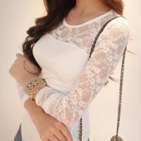 2014 autumn women's long-sleeve pullover t-shirt slim lace women's long johns basic shirt