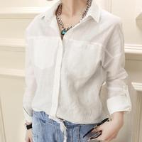 Fashion linen 2014 loose white shirt female casual all-match long-sleeve shirt