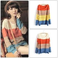 2014 winter multicolour color block decoration stripe pullover long-sleeve loose large cutout women sweater women's sweaters