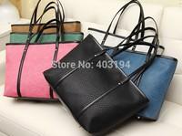 2014 Fashion Solid Shoulder bag vintage travel women's big bag casual classic zipper PU messenger handbag femme Black brown WD2