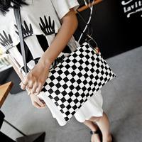 2014 women's handbag fashion black and white plaid woven day clutch bag envelope bag messenger bag small bags