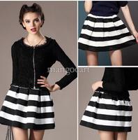 new women 2014 winter polyester short skirt hit color stitching texture wild waist fashion