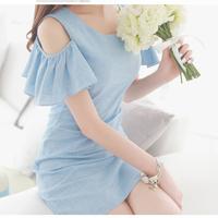 2014 summer slim step brief gentlewomen elegant short-sleeve dress