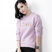 2014 fashion brief fashion embroidered casual all-match women's long-sleeve pullover sweatshirt top