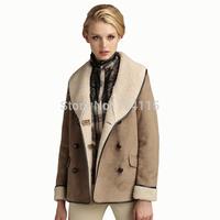 Women turn-down collar suede fabric compound berber fleece slim faux fur coat