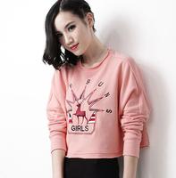 2014 women's fashion casual all-match women's short design long-sleeve pullover sweatshirt