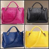 Fashion Women Shoulder Bag new 2014 Solid genuine leather Embossed bag Brand design bag femme Zipper messenger bag Black WD6
