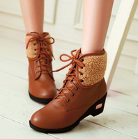 Free shipping botas new fashion lace soft leather wedge heel 5 cm platform ankle motorcycle boots winter womens shoe top size