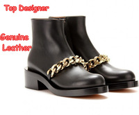 Italy Top Designer Genuine Leather Women Ankle Boots Fashion Gold Chain Brand Heels Ladies Autumn Punk Black Martin Riding Shoes