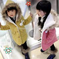 2014 Children clothing outerwear girls winter coat wadded outerwear child plus velvet thickening outerwear rabbit cotton-padded