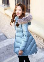 2014 winter women's slim medium-long down coat raccoon large fur collar down jacket Free shipping