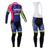 lampre merida 2014 cycling jersey long sleeve winter thermal fleece cycling clothing men cycling long pants