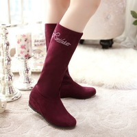 two ways wear !2014 mid-calf autumn boots breathable comfortable elevator elastic fresh Snow Winter Warm boots women