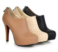 2014 spring and autumn fashion zapatos mujer high-heeled  plaid boots platform pumps plus size