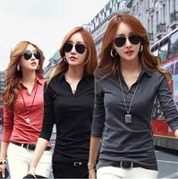 2014 Long Sleeve V-Neck Shirt Women Blouse Casual Tops Women Plus Size Blouses Camisas Roupas Blusas Femininas women t shirt