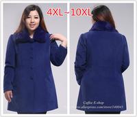 Plus Size Women's Clothing 2014 Winter Single-breasted Medium-long Overcoat Outerwear Coating 4XL 5XL 6XL 7XL 8XL 9XL 10XL
