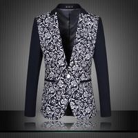 2014 New Arrival Autumn Blazer Men Casual Suit Fashion Flower Print Men Blazer Men Jacket Plus Size 4XL 5XL 6XL