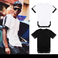 Summer New fashion brand Top male mens clothing hip hop casual pyrex tops tee PU faux leather patchwork Cotton Casual t-shirt