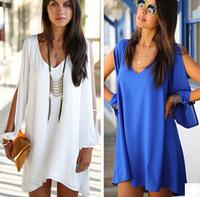 Women V-neck perspectivity solid color blusas femininas 2014 chiffon one-piece dresses plus size blusa cheap clothes china