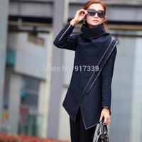 HOT 2014 Autumn Winter New  woolen overcoat women fashion Slim leather Trim Personalized Asymmetry Rules Suede Woolen Jacket