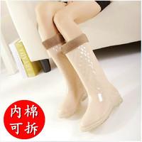 2015 Rain boots warm rainboots trend over strung slip-resistant women knee high waterproof short fur shoes size 36-40