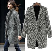 Winter Women Long Sleeve Houndstooth Lapel Tunic Thick warm Slim woolen Female outerwear Women's Cardigan Trench Coat Jacket