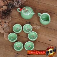 8pcs/lot High quality porcelain tea set fish design handmade craft ceramic tea pot cup longquan celadon boutique fair cup set