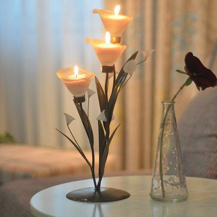 Acessórios do casamento romântico lâmpada lírio de calla vela ferro forjado lâmpada vela pequena luz noturna decoração(China (Mainland))