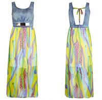Free shipping 2015 Summer Women's Clothing Silk Chiffon Floor-Length Dress Sexy halter Show Thin Vest Dress Vestidos Party Dress