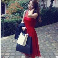 Red Korean Dress 2014 New Female Fashion Sleeveless Chiffon Dresses High Quality Slim Yards Vest XXL Women Dresses vestidos