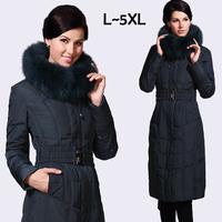 Winter women 4XL 5XL plus size ultra long Thickening warm down coats&jackets Luxury fox fur collar white duck parkas