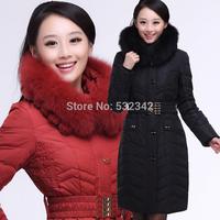winter plus size women's large fox fur collar ultra long thickening down coats&jackets fashion slim down parkas xxl,xxxl,xxxxl