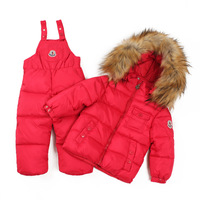 85-115CM baby Children boys girls winter warm down jacket suit set thick coat+jumpsuit baby clothing set kids jacket