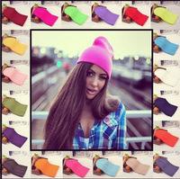 2014 Winter Warm Knitting Wool Fluorescence Color Tabby Solid Beanie Hats For Unisex Women Men Wholesale 46pcs/lot