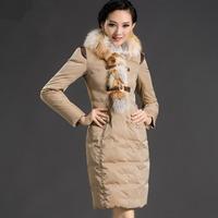 women's winter down jacket  slim design fox fur long down coat outerwear female duck down jacket women