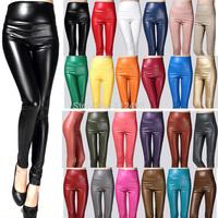 winter thicken warm leather leggings velvet PU multicolour faux high waist  elastic pants female trousers plus size