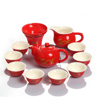 Ceramic tea set  red glaze golden dragon tea service include teapot  cups free shipping