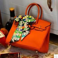 Fashion lock bag h women's handbag classic bags genuine leather bag platinum orange handbag women's handbag