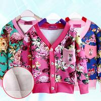 2014 New Fashion Autumn Winter Children's Velvet Cardigan Clothing V-neck Cotton Baby Children Outerwear Girls Flower Coat